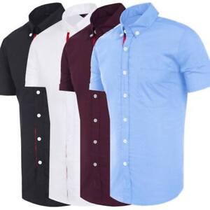 Para-Hombres-Camisas-Mangas-Cortas-Camisa-de-Calce-Ajustado-Informal-Formal-M-L-XL-XXL-PS18