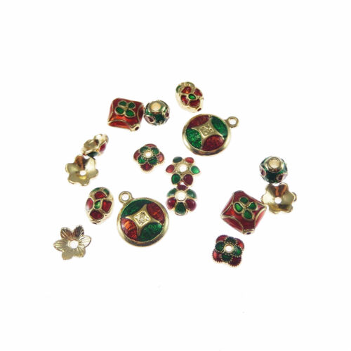 100 pcs Colorful Enamel Plated Alloy Beads Caps Charm Pendant Craft Findings
