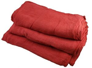 100 NEW INDUSTRIAL SHOP RAGS / CLEANING TOWELS RED LARGE GA TOWEL BRAND