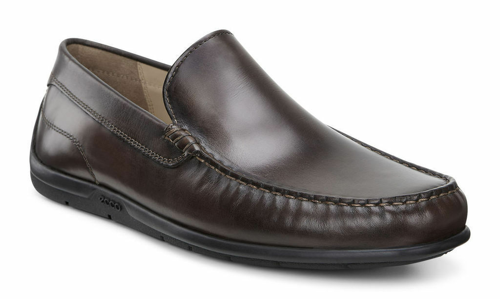 NIB Ecco Moc Classic Moc Ecco 2.0 Slip-On Loafers Pelle Coffee Brown Uomo Sz 41 45 46 0549a5