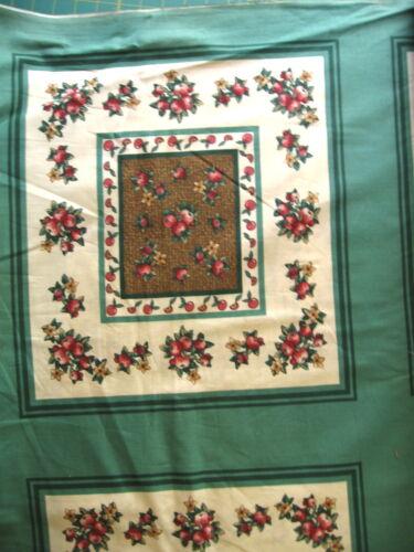 "18/"" Pillow//Quilt Block Panel Makes 6 Green Brown Basaket Weave Apples//Flowers"
