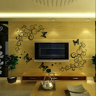 Removable Butterfly Flower DIY Vinyl Decal Art Mural Home Decor Wall Stickers
