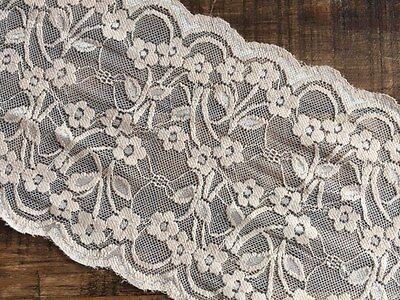 """Pale Silver Grey Wide Floral Stretch Tulle Lace Trim 6/""""//15cm laverslace"""