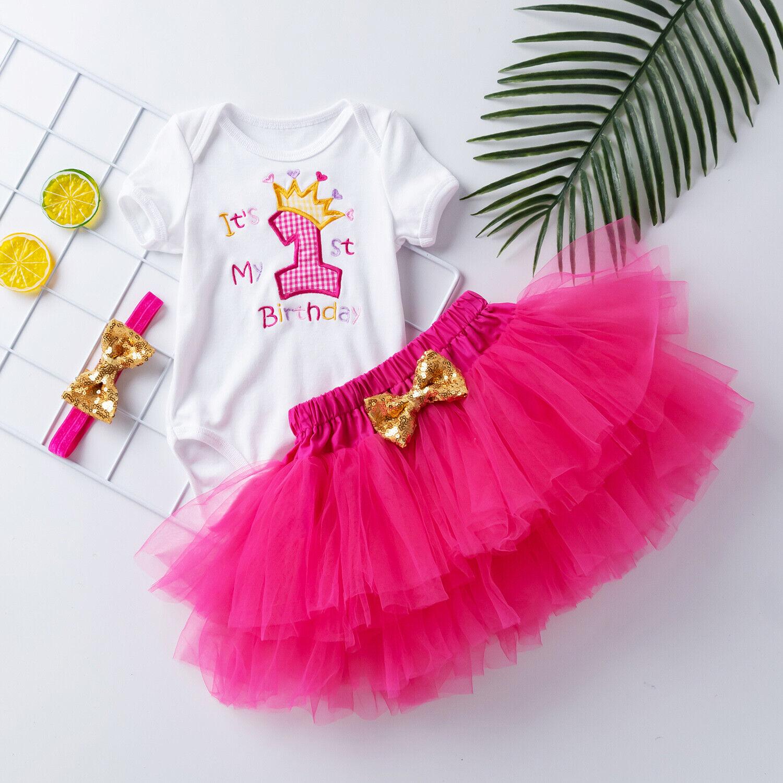 3PCS Bebé Niñas Cumpleaños vestir conjuntos Bordado Mameluco Ropa Falda Tutú