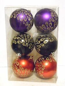 image is loading 6 red black purple christmas ornaments with glitter - Red And Black Christmas Decorations