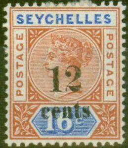 Seychelles-1893-12c-sur-16c-SG17-Fin-MTD-Excellent-Etat