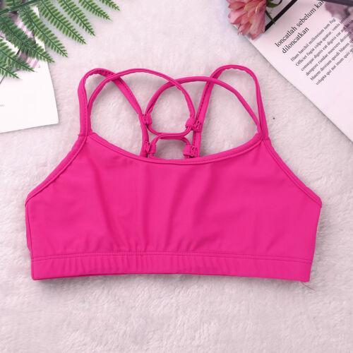 Young Kids Girls Soft Cotton Bra Tops Underwear Training Gym Dance Crop Top