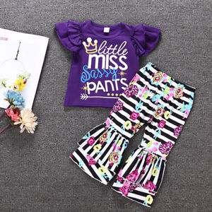 001ebcc99 Kids Baby Girls Suit Summer Floral Frill Letter T-shirt + Striped ...