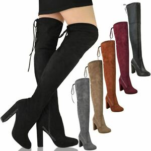 Women Ladies Thigh Over The Knee High Heel Stretch Party Stiletto Boots Size
