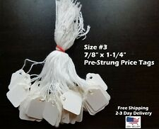 Size 3 Small Blank White Merchandise Price Tags With String Retail Jewelry Strung