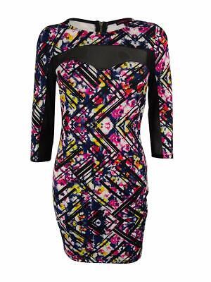 Material Girl Juniors/' 3//4 Sleeve Illusion Dress S, Caviar Black Combo