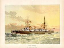 Stampa antica UNDAUNTED nave vela e vapore 1892 Old antique print ship
