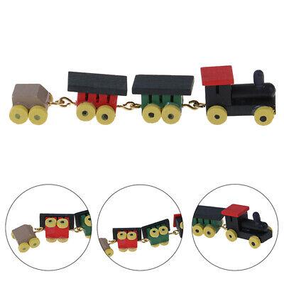 1:12 Dollhouse Miniature Wooden Train Carriages Set Vintage Accessory Decor Toy