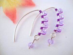 PURPLE-Crystal-Silver-Marquise-Dangle-Earrings-PLUM-VIOLET-WIRE-Fashion-ARTISAN