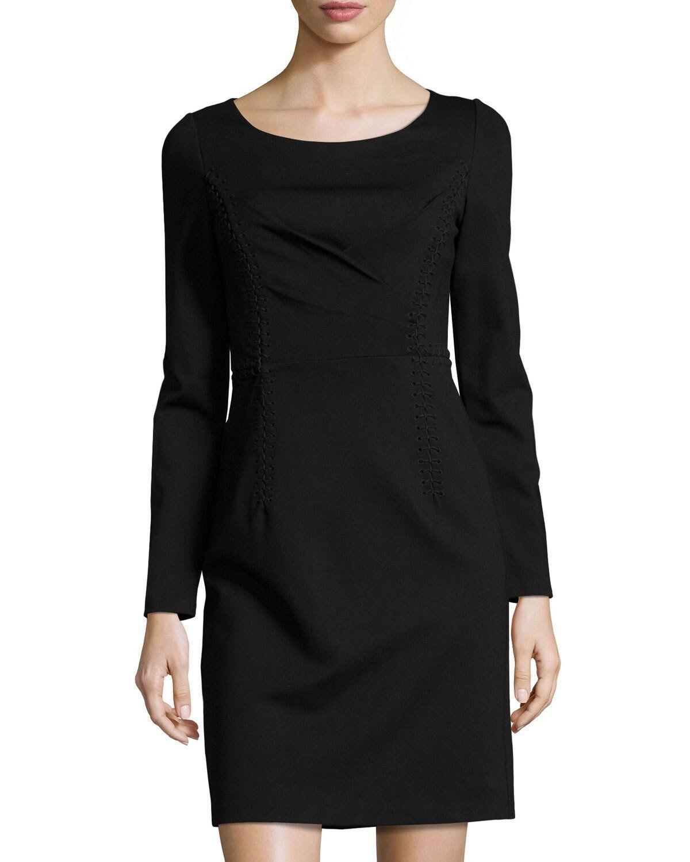 Kobi Halperin Presley Long-Sleeve Sheath Dress, schwarz Größe 6 NEW 458