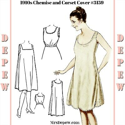 vintage sewing pattern ladies' 1910s chemise slip dress