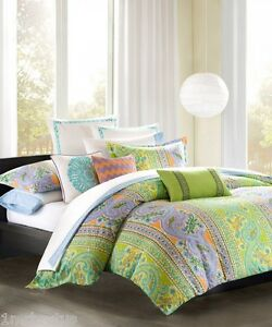 Echo Design Calypso King Duvet Cover Paisley Green Orange