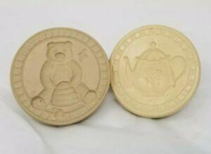 Vtg-Cookie-Art-Mold-Press-Stamp-Chocolate-Paper-Lot-bear-w-honey-pot-amp-teapot
