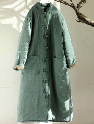 manteau occasionnel Qipao lâche veste chinois matelassé collier longue 100 lin femmes ZqzRPW7qwf