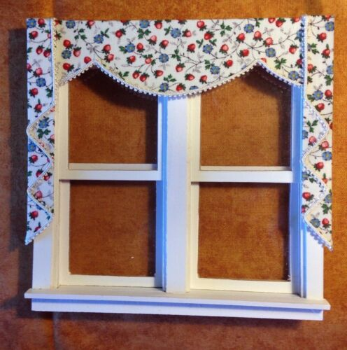 Strawberry & Blue Cornflower Dollhouse Double Curtains