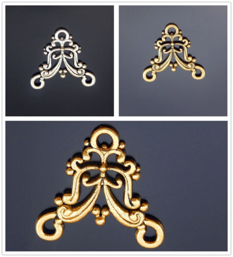50x Bronze//Gold//Silver Alloy Floral Connectors Pendants Charms Jewelry Findings