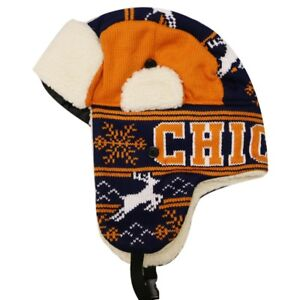 4a33ecd9225cf9 Image is loading CHICAGO-Winter-Trapper-Hat-Snow-Deer-Aviator-Knit-