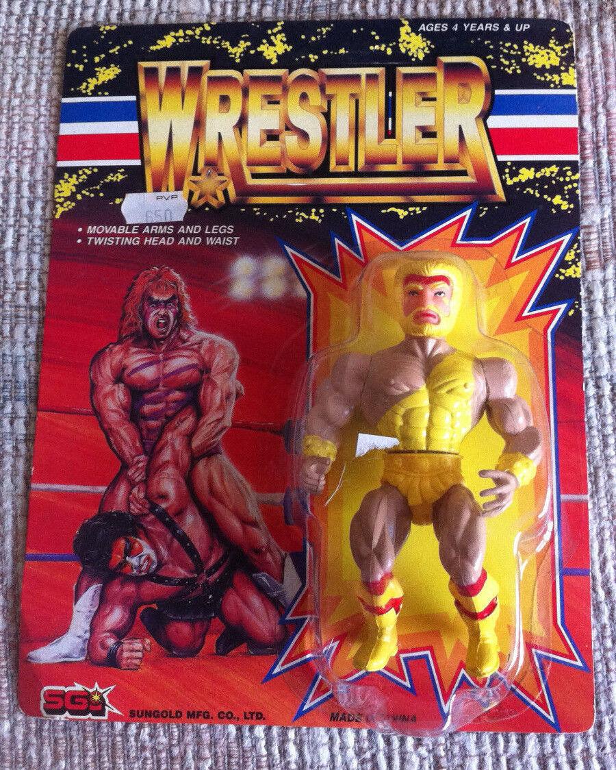 VINTAGE RARE gold WRESTLER WWF ACTION FIGURE SUNgold REMCO KO 1980 MOC