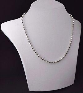 Kugelkette-Perlenkette-Collier-925-Silber-Halskette-Silberkette-3-mm-amp-50-cm