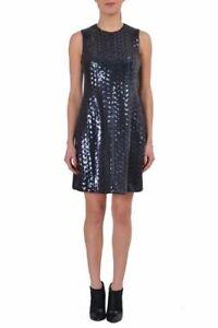 Just-Cavalli-Navy-Sleeveless-Sequins-Decorated-Women-039-s-Sheath-Dress-US-s-IT-40