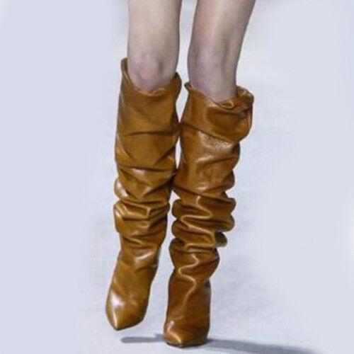 Mujer Gladiador Puntera en Punta de cuero tire de botas Tacones Altos Sólidos a mitad de la pantorrilla