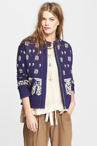 NWT-Free-People-Jacket-Riviera-Pattern-in-Royal-Blue-Combo-Retail-168