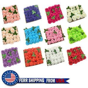 50pcs Artificial Flowers Real Looking Foam Roses Decoration DIY for Wedding