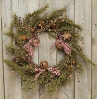 Rustic Pine Wreath: Berries, Homespun, Tin Stars, Bells & Pine Cones - 4 Sizes