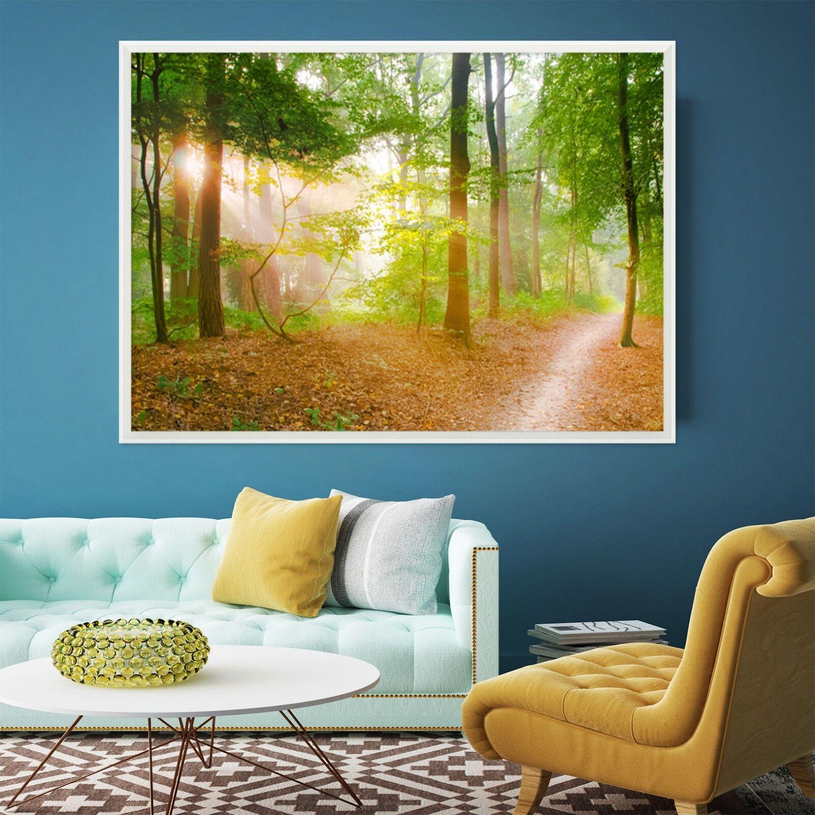 Ruta de Bosque Sol 3D 2 Póster Enmarcado Decoración del Hogar Pintura de Impresión Arte AJ Wallpaper