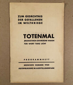 Munich: TOTENMAN Dramatisch Chorische Choral Dance Mary Wigman, 1930 Program