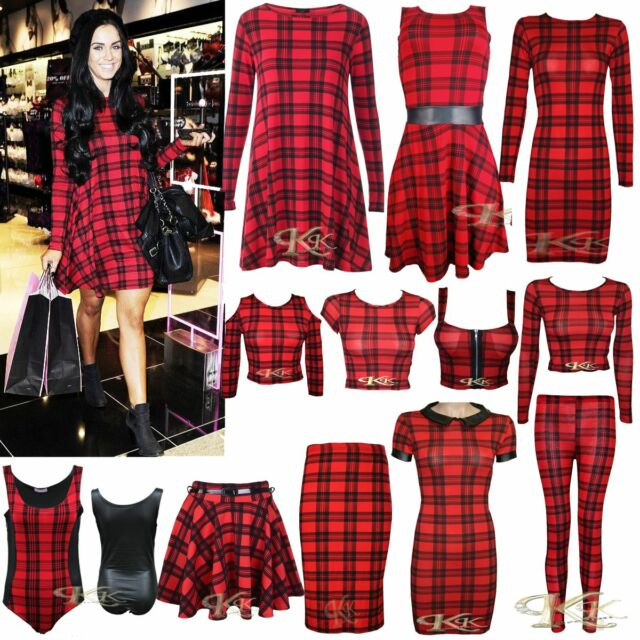 NEW WOMEN STYLISH RED/BLACK TARTAN PRINT SWING/TUNIC/CROP TOP/SKIRTS SIZE 8-26