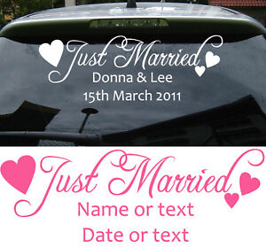 just married personalised car sticker romance love wedding. Black Bedroom Furniture Sets. Home Design Ideas