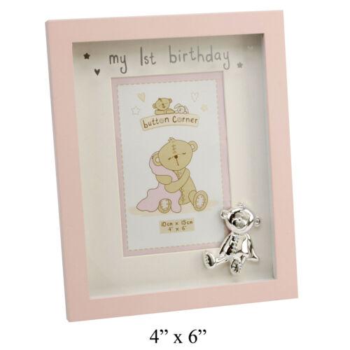 Botón Esquina Mi 1er Cumpleaños Foto de bebé niña marco Nuevo 16788