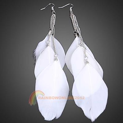 European Style Exotic Three Plumage Tassel Girl Long Earrings Stud Fashion NEW