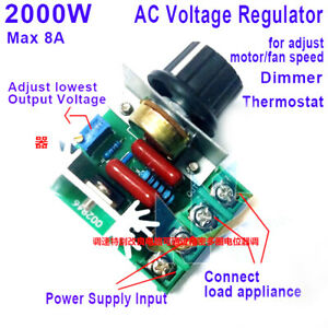 AC 110-220V 2000W SCR Voltage Regler  for Lamp Dimming Dimmer Speed Thermostat
