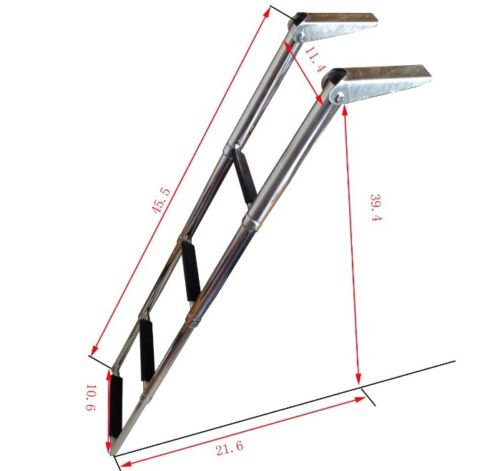 4 Step Stainless Steel Telescopic Marine Boat Ladder Over Platform Well Design