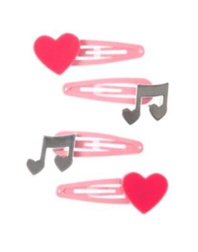 GYMBOREE jouer par Coeur Musique Note N Coeur Cheveux Barrettes 4-CT Neuf avec étiquettes