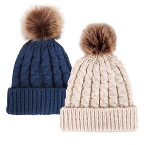 7b461f46b3d Details about 2 Pcs Fur Pom pom Baggy Beanie Winter Cable Knit Solid  Crochet Ski Cap Hat