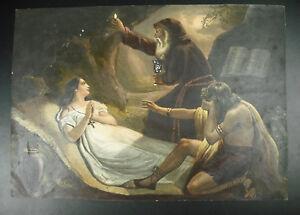 Antik-Print-Gravur-Verziert-Malerei-Aquarell-Feier-der-Eucharistie-c1850