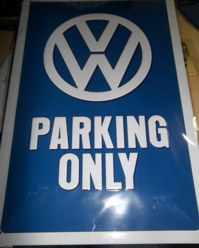 """EMBOSSED VW PARKING ONLY 3D SIGN OFFICALLY-LICENCED 12x8/""""//30X20cm GERMAN"""