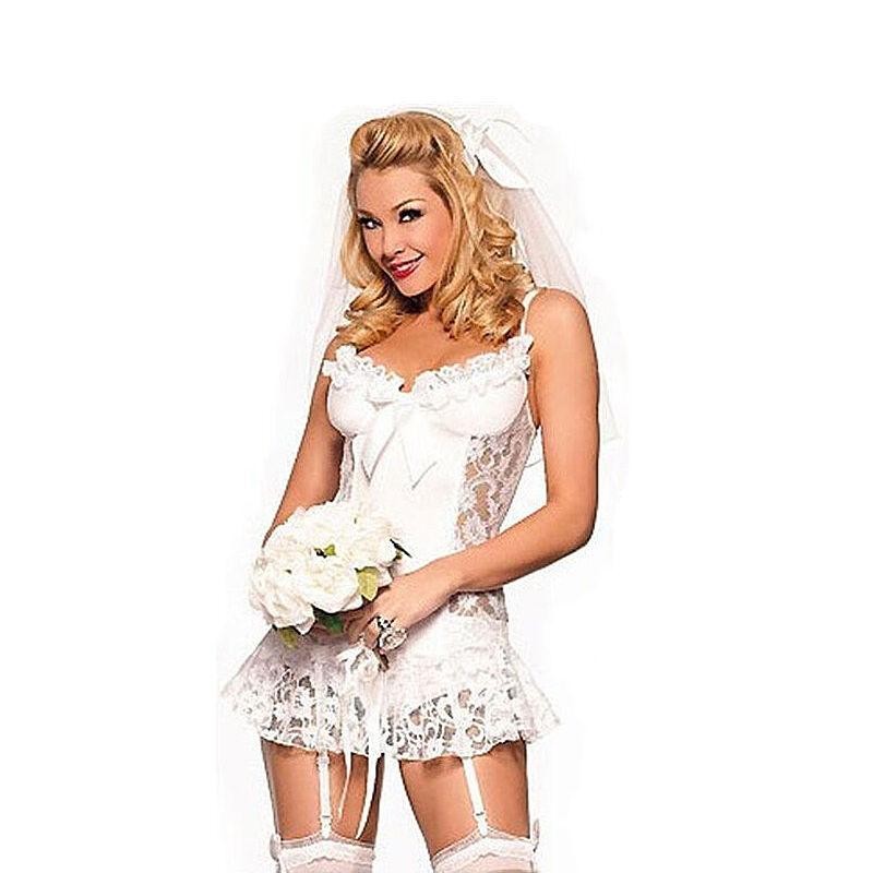 1bd1c8667 Women White Lace Lingerie Babydoll Underwear Sleepwear Bodysuit Wedding  Dress US 2 2 of 3 ...