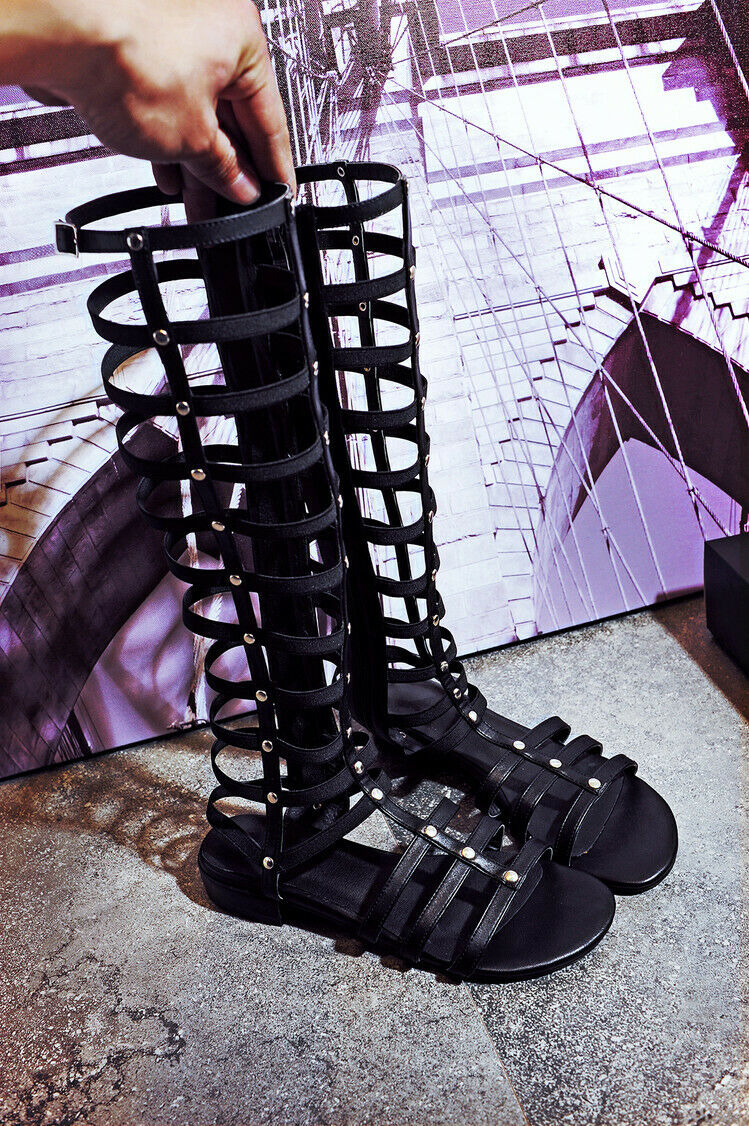 Wouomo low heels beside zip open toe leather ankle stivali gladiator hollow plus