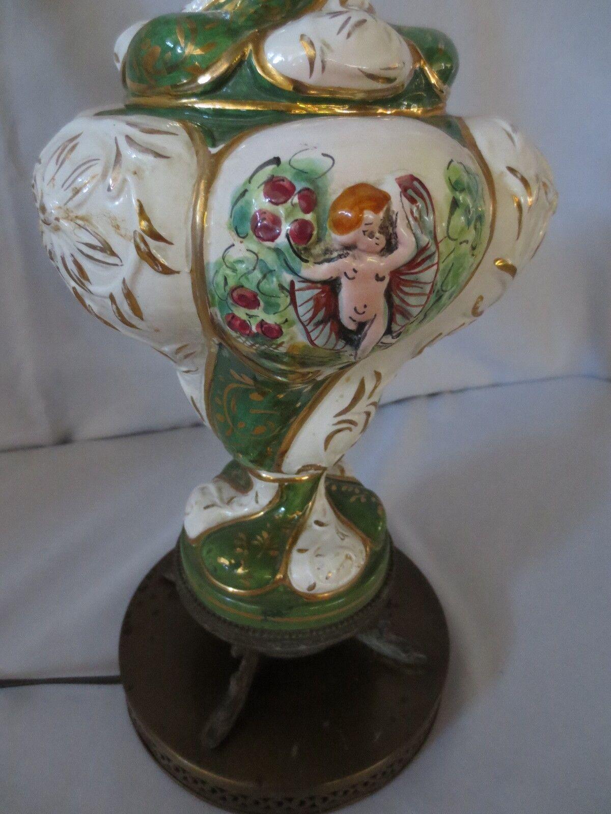 VINTAGE CAPODIMONTE ITALY ANGEL CHERUB LAMP HAND PAINTED DOLPHIN
