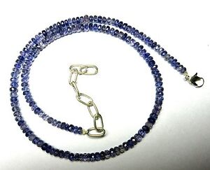 """72 Ct Natural Iolite Gemstone Roundel 4-4.5mm Faceted Beads 19.5"""" NECKLACE S33"""