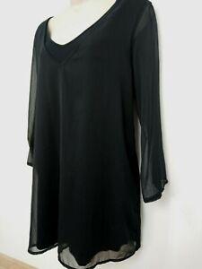 New-Directions-Black-Chiffon-Jersey-2-Layer-Tunic-Top-Blouse-Size-M-UK-10-12